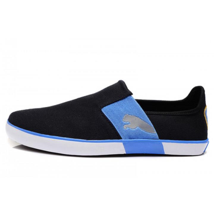 Мокасины puma eco lite черные с синим